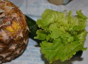 Ingredientes del batido verde de piña y melón
