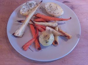horneado de chirivia,patata y zanahoria