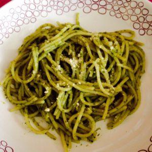 Espaguetis con salsa de coco sin gluten