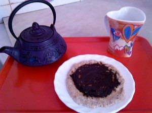Desayuno perfecto tortitas con crema de algarroba
