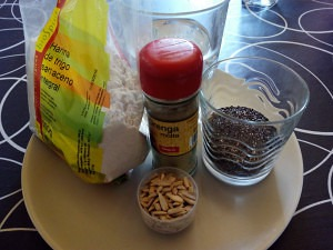 ingredientes de la pizza de trigo sarraceno y chia