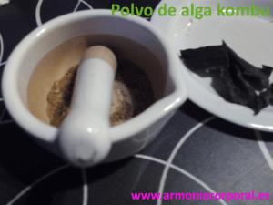 Preparar polvo de alga Kombu