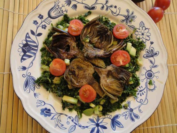 Ensalada de col Kale y alcachofas para adelgazar ( (2)