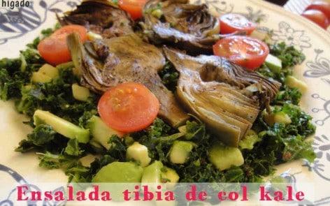 ensalada de kale y alcachofas para adelgazar
